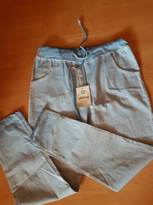 Made in Italy Pantalon boyfriend argenté-bleu clair