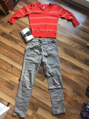 Pantalone a 7/8 marrone-grigio-cognac