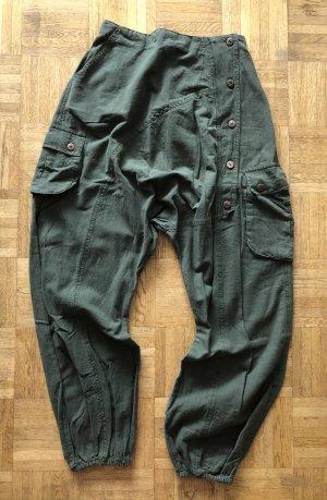 Pantalon large kaki coton