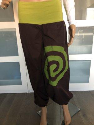Pantalone alla turca marrone scuro-verde prato