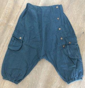 Pantalone a 3/4 petrolio-blu cadetto Cotone