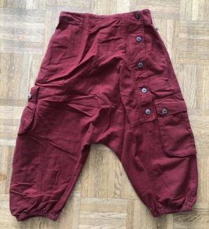 Pantalon 3/4 rouge carmin coton