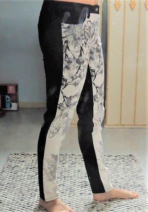 Hose schwarz grau creme von Laura Scott mit Blumenmuster Größe 36