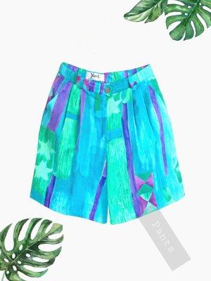 Hose Shorts Hotpants Hosenrock colorblocking grün blau lila weit high waist | vintage | 38