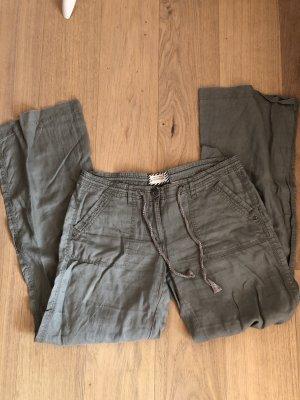 Clockhouse Lniane spodnie khaki-zielono-szary Len