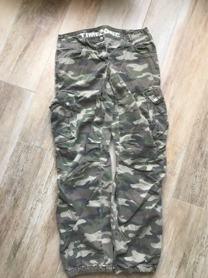 Timezone Pantalon taille basse gris vert