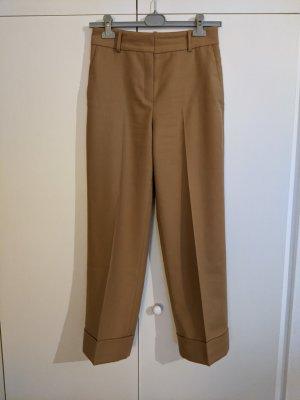 Massimo Dutti Woolen Trousers apricot-light orange wool