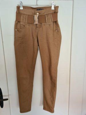 Blind Date Pantalone a vita bassa color cammello-marrone chiaro
