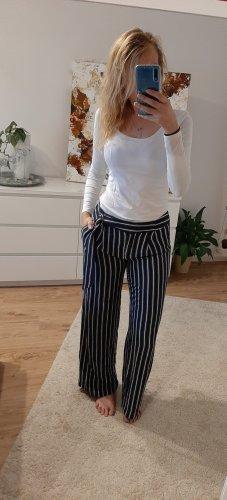 H&M Spodnie Marlena biały-ciemnoniebieski