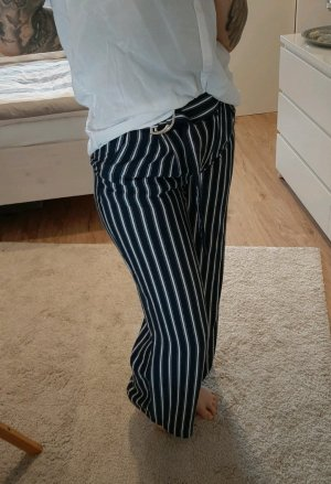 H&M Pantalón anchos blanco-azul oscuro