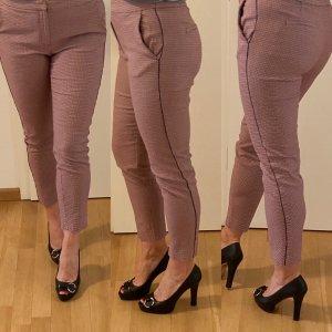 Massimo Dutti 7/8 Length Trousers dark blue-brick red cotton
