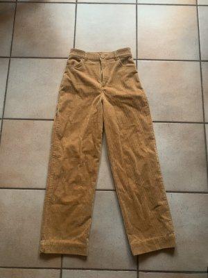 Monki Pantalone di velluto a coste giallo-oro