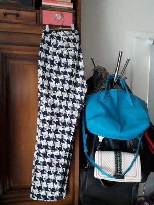 Zara Pantalon en jersey blanc-bleu foncé