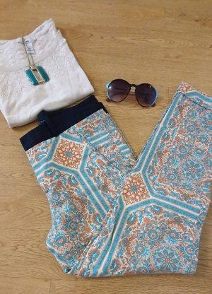 Zara Drainpipe Trousers oatmeal-turquoise
