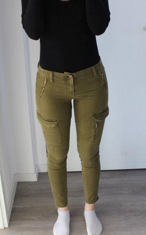 Zara Pantalone kaki verde oliva-ocra