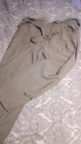 Zara Pantalon en lin gris vert