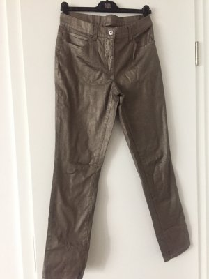 Mango Leather Trousers grey brown