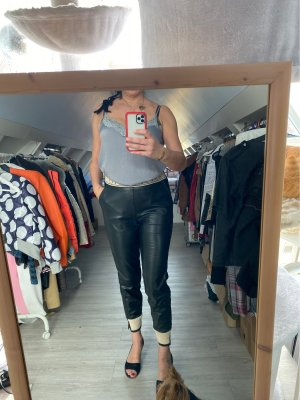 Skórzane spodnie czarny-beżowy Len