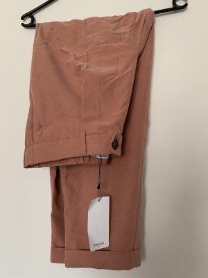 Mango Pantalon taille haute or rose modal