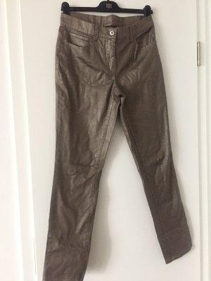 Mango Pantalon en cuir gris brun