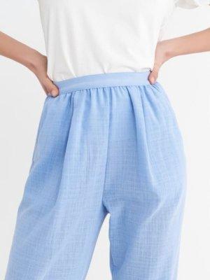 BGN Pantalon en lin bleu azur