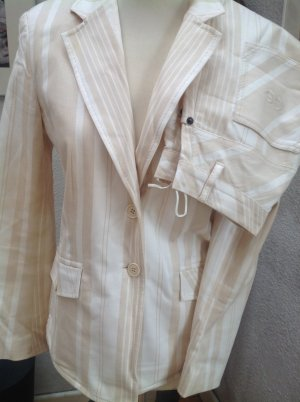 Strenesse Gabriele Strehle Traje de pantalón blanco puro-camel Algodón