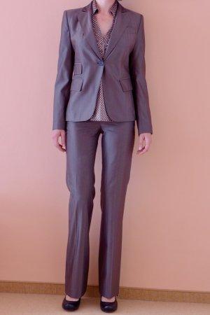 Zara Garnitur biznesowy szaro-brązowy Wełna