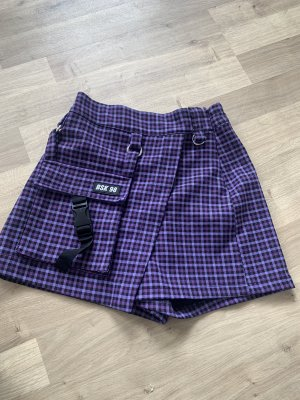 Bershka Spodnie z wysokim stanem czarny-szaro-fioletowy