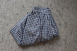 Vintage Jupes-culottes bleu foncé-blanc coton