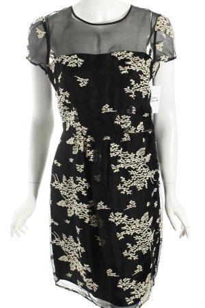 Hoss Intropia Kurzarmkleid schwarz-wollweiß florales Muster Elegant