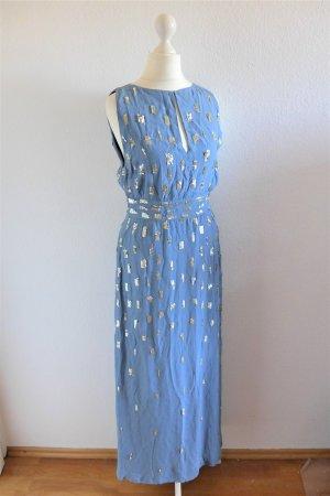 Hoss Intropia Seide Abendkleid Gatsby Flapper hellblau gold Gr. 36 S
