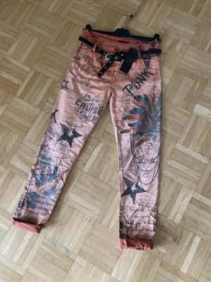 HoT! Baggy Jeans Hose - Orange Print - Größe L 38 40 ItAlY - Crash Look SexY