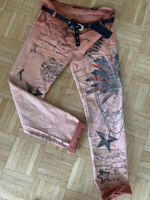 HoT! Baggy Jeans Hose - Orange Print - Größe M 36 38 ItAlY - Crash Look SexY