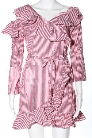 Hot & Delicious Vestido estilo flounce rojo-blanco elegante