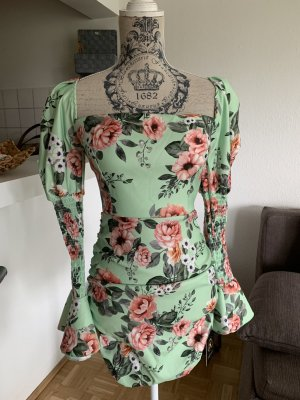 HoT! Lady Mini StretchKleid - Mint/Flower - OneSize - Langarm
