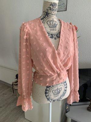 HOT! Langarm Chiffon Bluse/Shirt - OneSize - Lachs/Coral - Neu