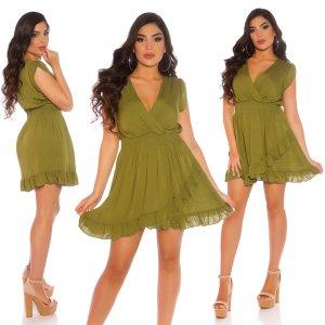 Hot! Latina Minikleid - Olive/Green - Wickellook - Größe S/M 34/36/38