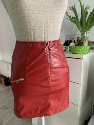 HOT!!! Lederlook Zips Minirock Red rot S 34 32 HOT edel