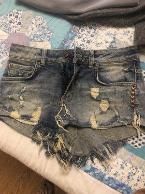 Bershka Pantalón corto azul-azul acero