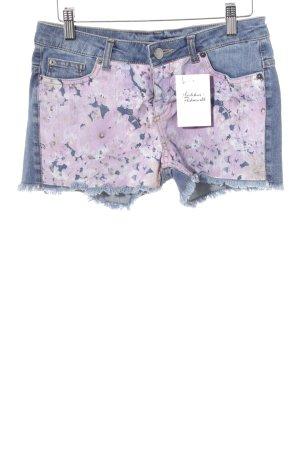Hot Pants stahlblau-rosa Blumenmuster Casual-Look