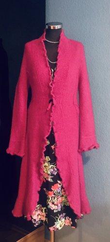 Cappotto a maglia rosso lampone