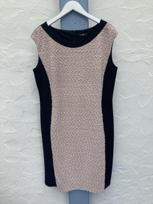 *Hourglass* Etui-Kleid, schwarz-beige, Bouclé und Pailletten, Gr. 46