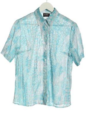 HS Gina G Chemise à manches courtes turquoise motif abstrait style d'affaires