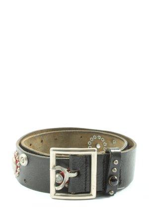 Htc Cinturón de cuero negro-rojo look casual