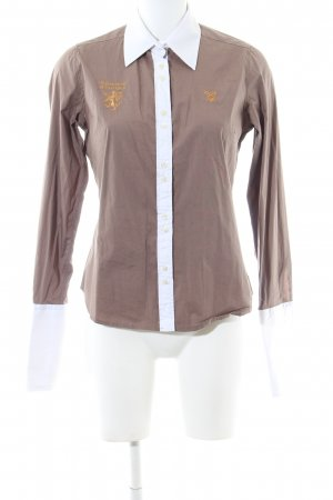 Huberman's Hemd-Bluse braun-weiß Casual-Look