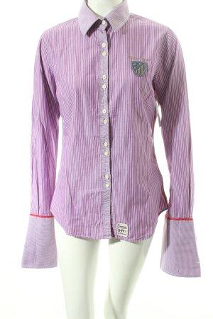 Huberman's Langarm-Bluse helllila-weiß Streifenmuster klassischer Stil