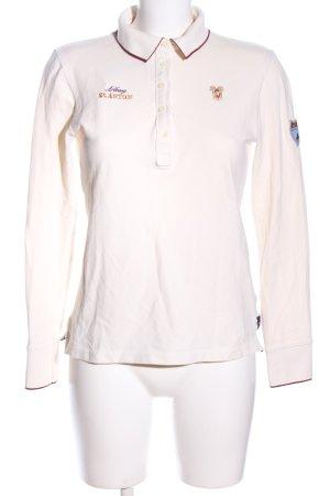 Huberman's Polo-Shirt wollweiß Schriftzug gestickt Casual-Look