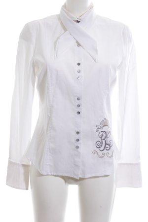 Hucke Hemd-Bluse weiß Schriftzug gestickt Business-Look
