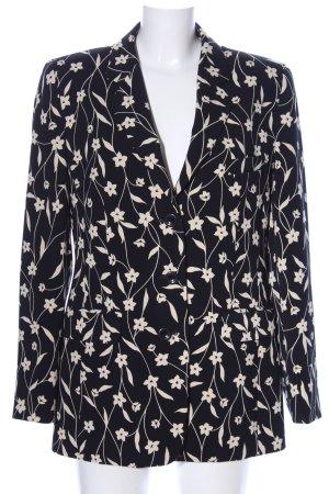 Hucke Kurz-Blazer schwarz-wollweiß Blumenmuster Business-Look