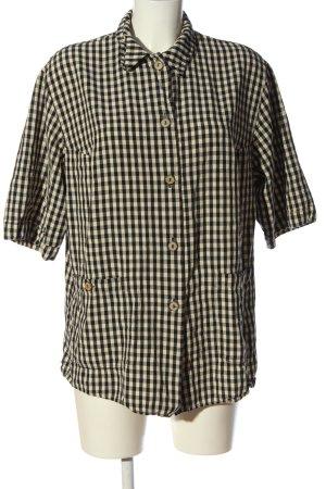 Hucke Kurzarmhemd schwarz-wollweiß Karomuster Casual-Look